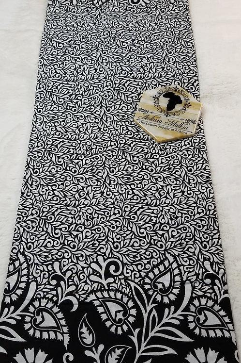 Black & White Boarder Floral ULT Class Ankara PRE0056
