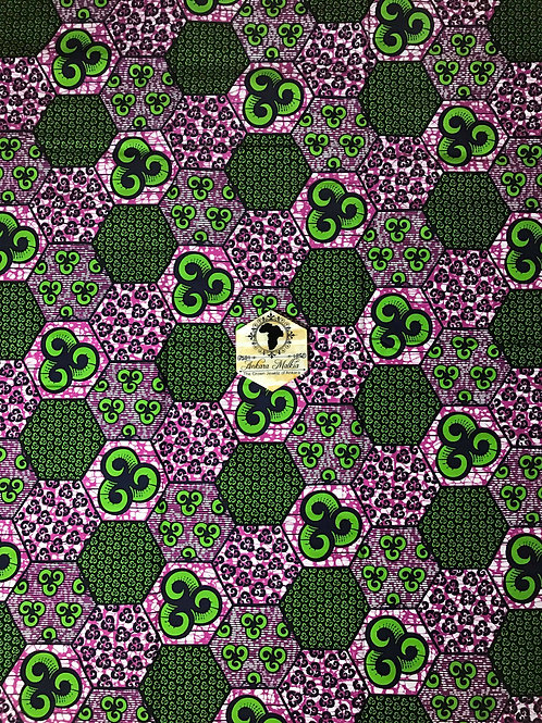 "Plum & Green ""Pentagons"" Patchwork 003"