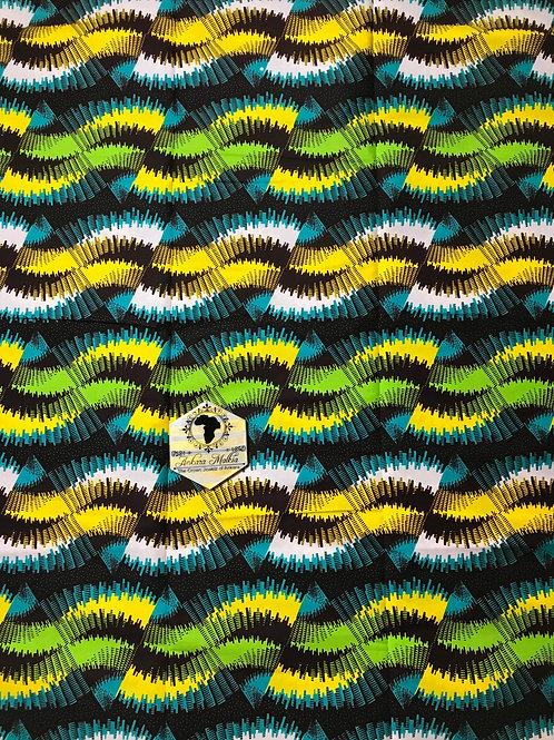 """Wavy"" Green, Yellow, Black Teal Abstract 0002"