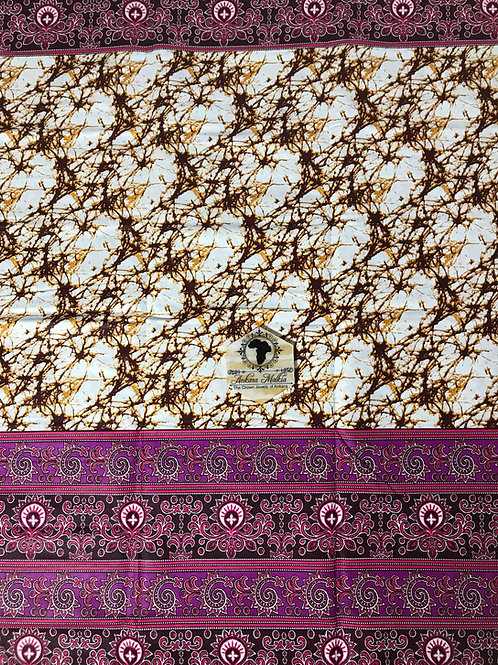 Cream & Purple Pink Border Batik 004