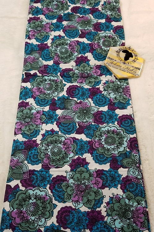 Cornflower & Purple Floral Ult Class Ankara PRE0043