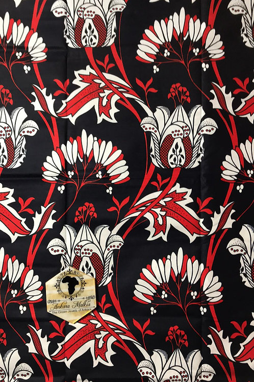 "Navy, Red & White Climbing Floral ""Big Bloom"" Floral 012"