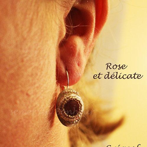 Boucles d'Oreille Rose et Délicate