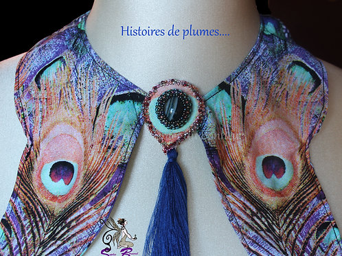 """Plastron col papillon """"Histoires de plumes...."""""""