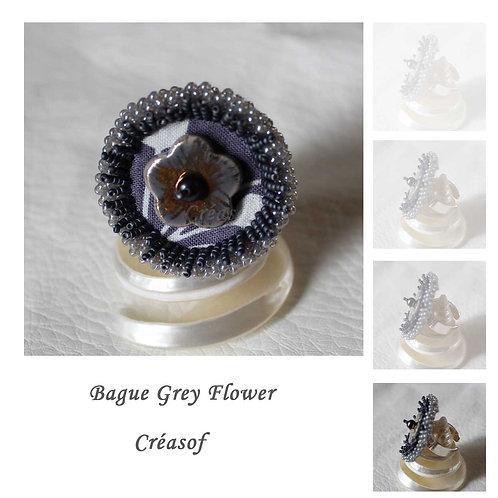 "Bague ""Grey Flower"""