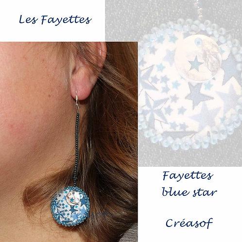 Boucles d'Oreille Les Fayettes Ailes et Bleu