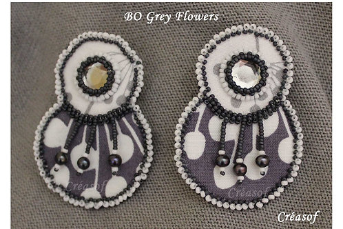 Boucles d'oreille Grey Flowers