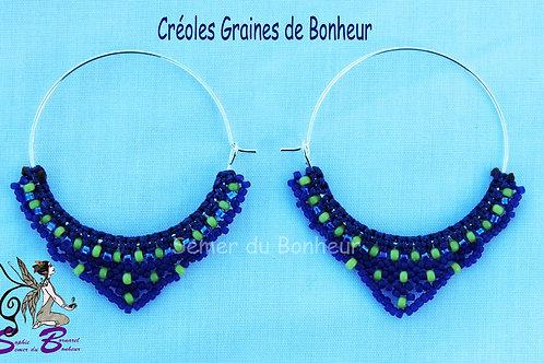 """Créoles """"Graines de Bonheur"""" bleues et anis"""
