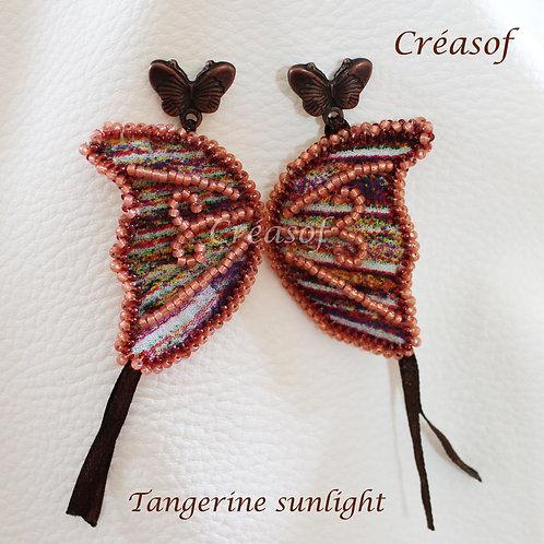 """Boucles d'oreille ailées """"Tangerine Sunlight"""""""