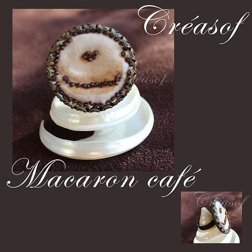 """Bague tissu brodé, """"Macaron Café"""""""