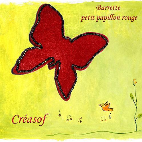 """Barrette """"Petit papillon rouge"""""""