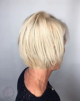 Short Hair Model, hair in Bend, OR, haircolor, bleached blonde, white blonde hair