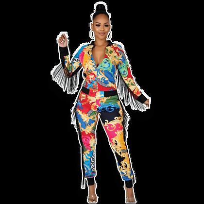 Long Sleeve Fringe Track Suit