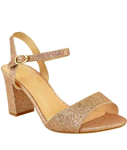 7644ba19029 Ladies Womens Low Block Heel Party Bridal Glitter Sandals Wedding Prom