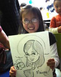 Caricature of a girl, 1st birthday party in Ontario California