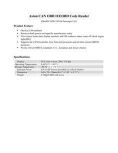 Aston CAN OBD II/EOBD Code Reader