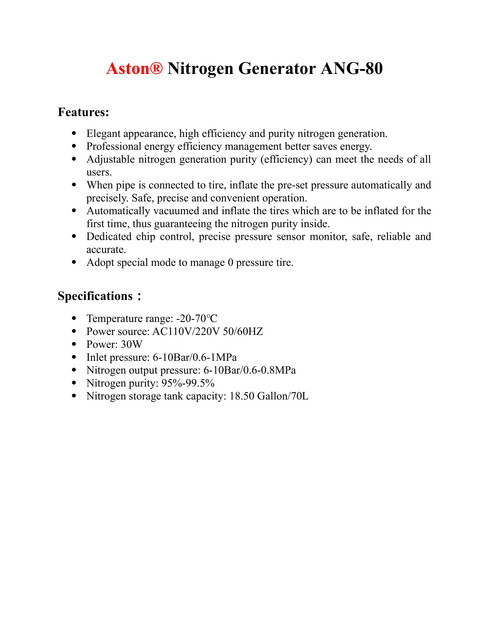 Nitrogen Generator for Car ANG-80