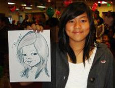 drawing of a teen at a Christmas event at Abbot labs, Temecula California
