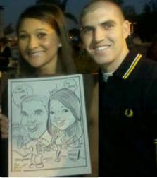 caricature of couple at a charity event at the Clairmont club, Clairmont California