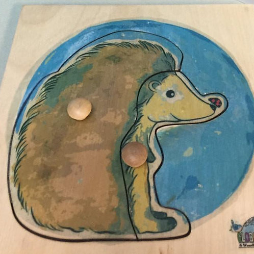 Hedgehog Puzzle (Toddler 2 pieces) Woodland collection