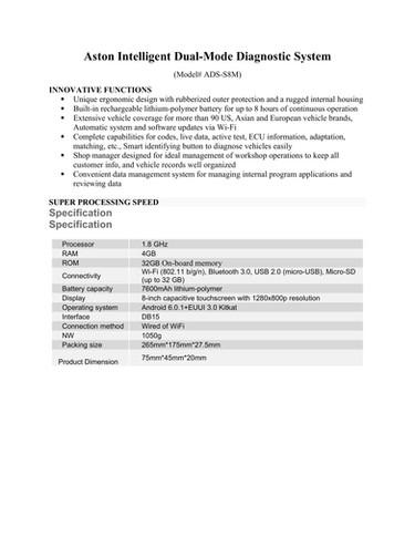 Aston Intelligent Dual-Mode Diagnostic System