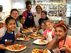 Chef Maria Crann and Cooking Camp Students