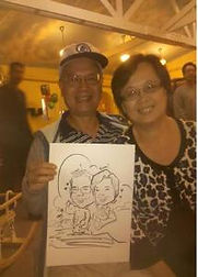 caricature of a couple at 1st birthday party Roland Heights, California