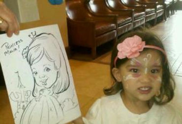 Drawing of a little girl at easter brunch, mission viejo country club, california