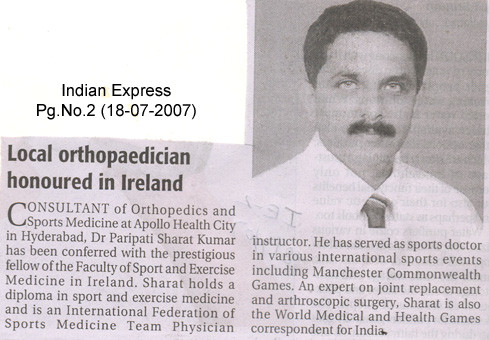 First sports surgeon working in India to receive fellowship: FFSEM[I].