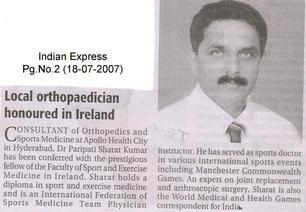 Dr P Sharat Kumar honoured in Ireland