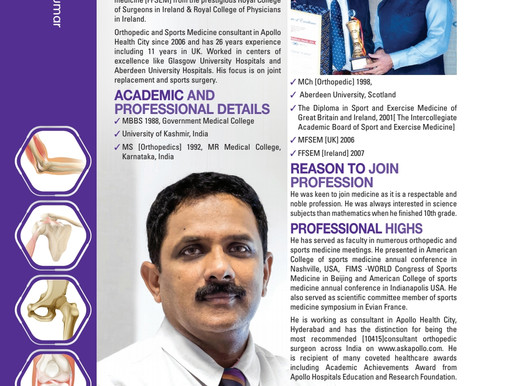 Featured in Coffee Table book India's Top Orthopedician