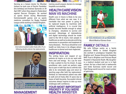 featured in India's Top Orthopedician Coffee Table Book