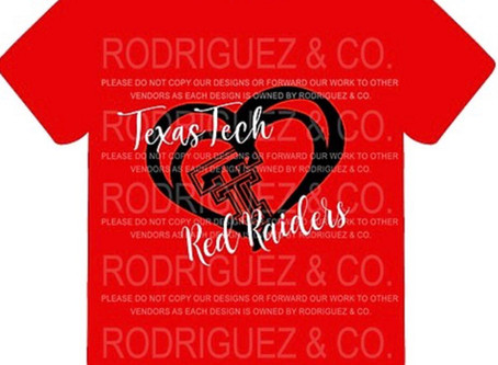 New items for 2020! Texas Tech Red Raiders shirt with heart shape.