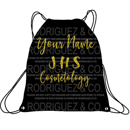 Cosmetology Draw String Backpack with Name