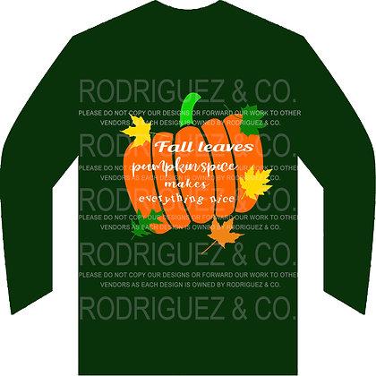 Fall Leaves Pumpkin Spice -  Long Sleeve