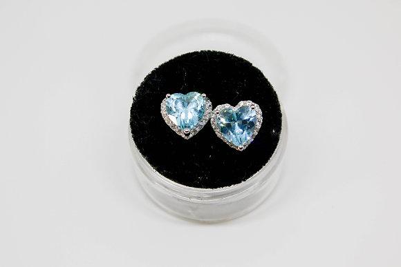Sterling Silver Heart Shape Blue Topaz CZ Earrings