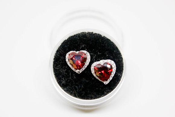 Sterling Silver Heart Shape Garnet CZ Earrings