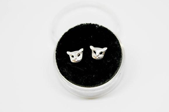 Sterling Silver Cat Face Earrings
