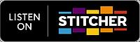 """Badge showing text """"Listen on Stitcher"""""""