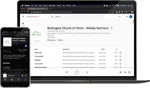 Floating image of Computer and iPhone displaying Burlington Church of Christ pocast images