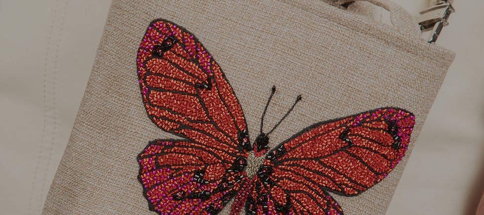 Red butterfly bead embroidered