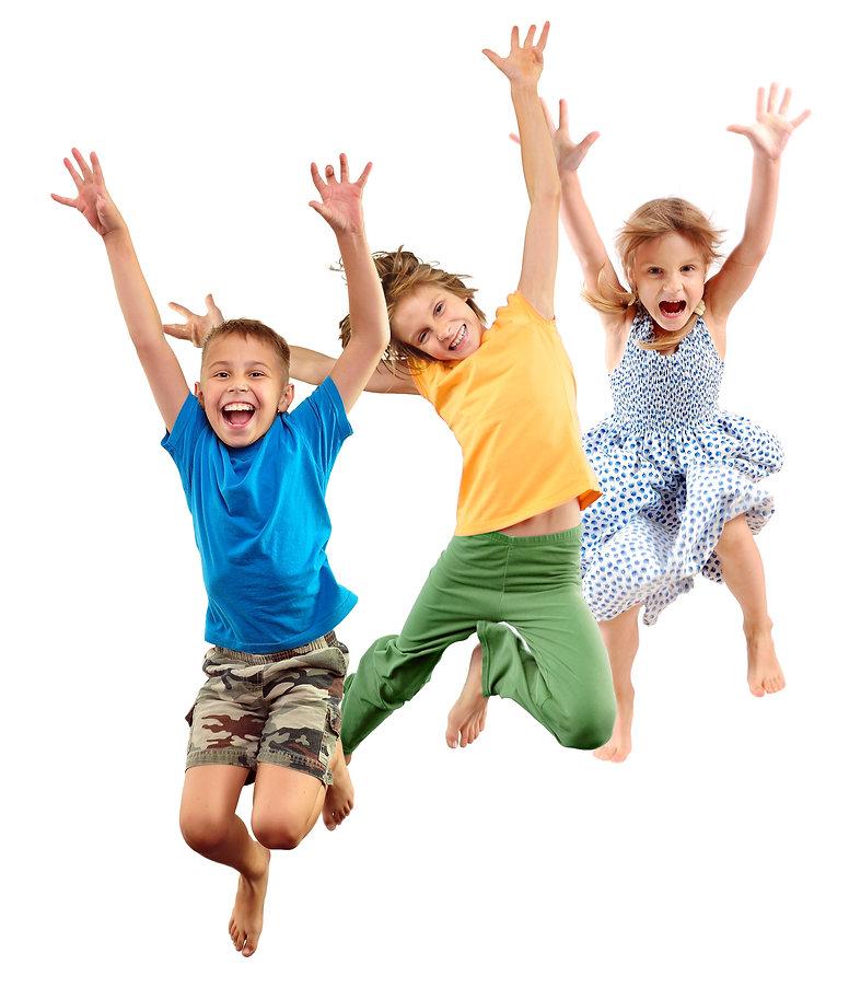 Group of happy cheerful sportive barefoo