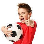Fan sport boy player hold soccer ball in