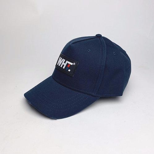 Navy  Rubber WHT Logo Cap