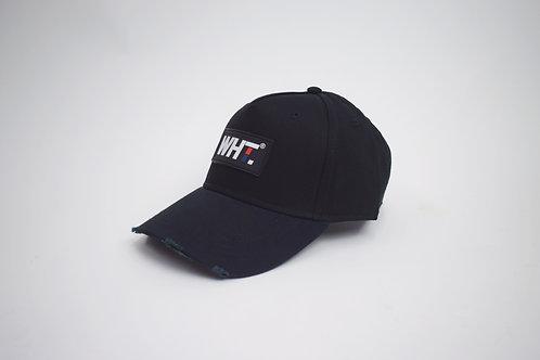 Black Rubber WHT Logo Cap
