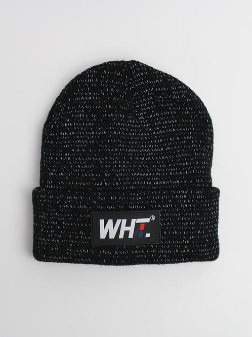 'Black' Reflective WHT Logo Beanie