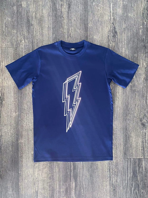 Kids Navy Reflective Bolt T-Shirt