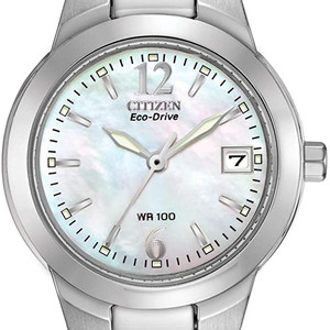 Ladies Silver Tone Mother of Peal Eco Drive Watch