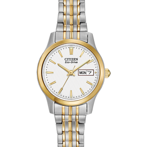 Ladies Two Tone Eco Drive Watch with Day/Date Display