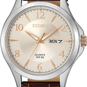 Stainless Steel Quartz Watch with Calfskin Leather Band